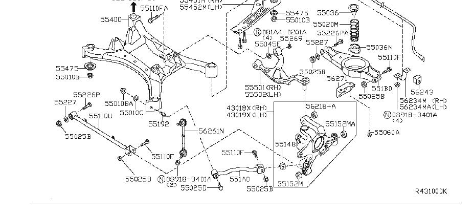 Nissan Maxima Bushing Link. REAR, SUSPENSION - 55157-AR000 ...