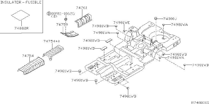 1996 Nissan Altima Plug Floor. (Front, Rear). BODY, HEAT ...