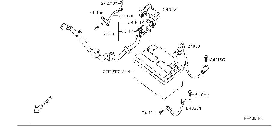 Nissan Sentra Cable Battery To Body  Other - 24080-zj60b