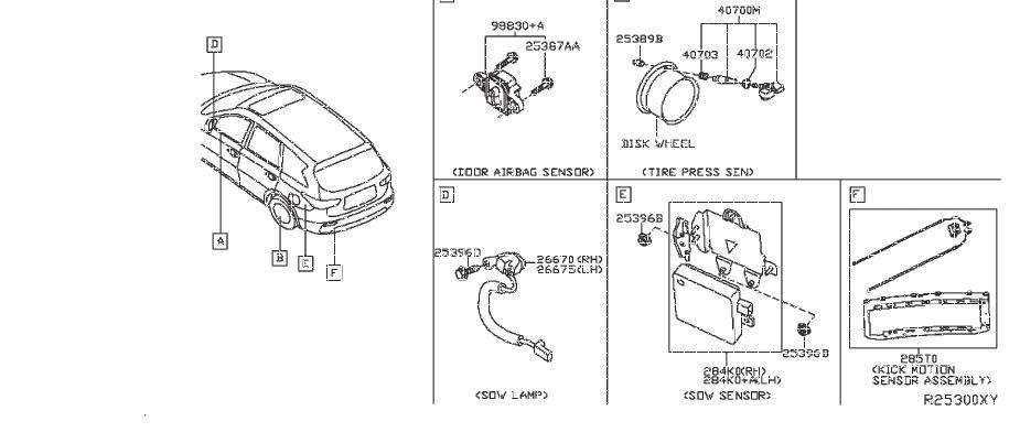 2017 Nissan Pathfinder Keyless Entry Transmitter  Body