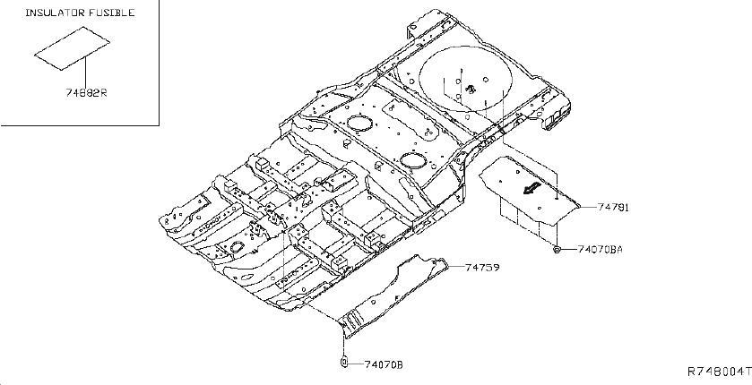 nissan rogue floor pan heat shield  front   body  plugs