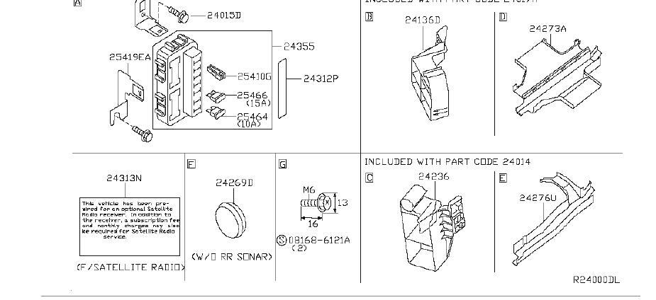 Nissan Altima Bracket Harness Clip  Other - 24239-8y105
