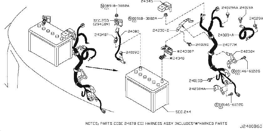 Nissan Armada Harness Engine Room. BODY, EGI, DOOR - 24012 ...