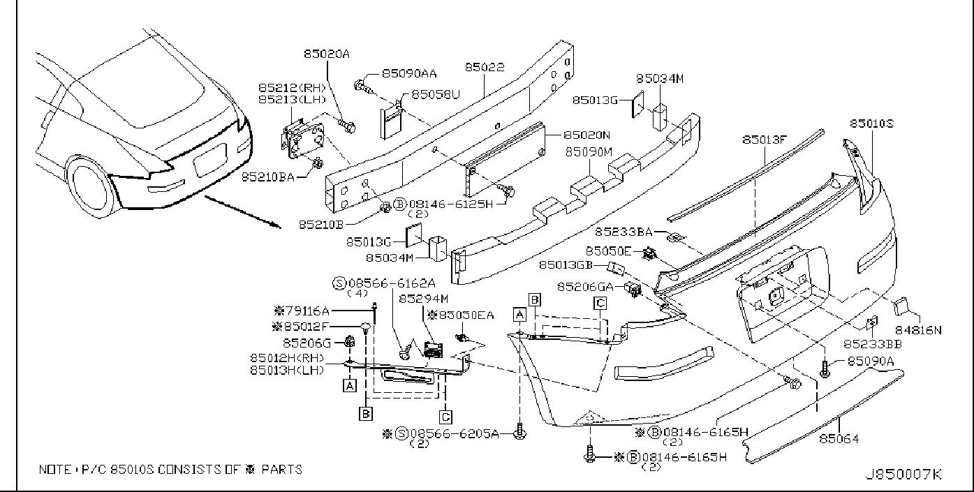 Nissan 350z Clip  Rear  Bumper  Coupe