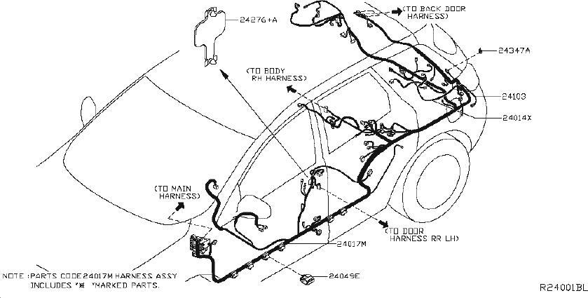nissan murano alternator bracket  harness  engine  body