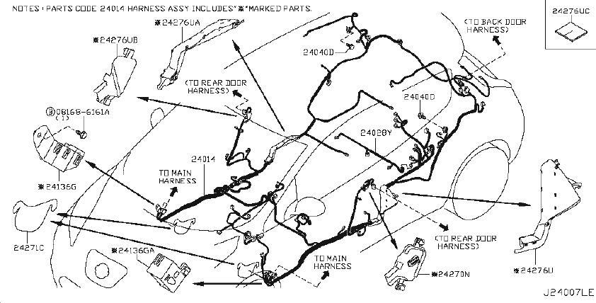 Nissan Leaf Bracket Connector  Harness  Body  Fed